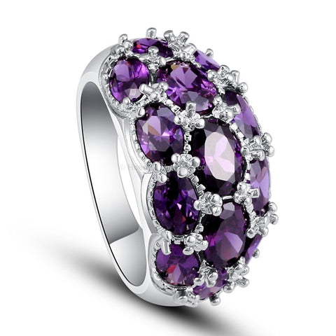 Purple Semi Precious Multi Stone Silver Ring