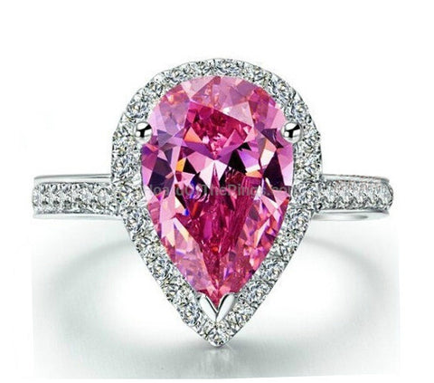 4ct Pink Pear Cut CZ Sterling Silver Ring - HoardOfTheRings.com