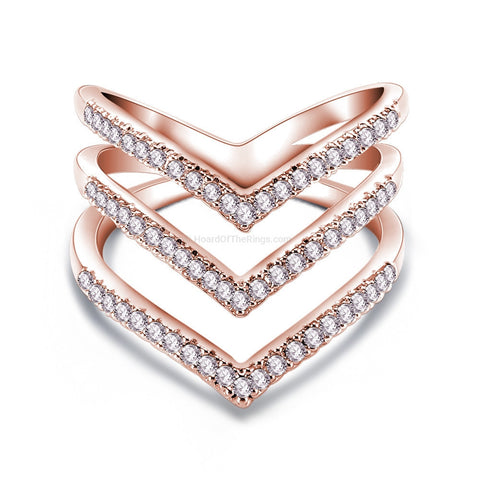 Crystal Infused 3 Tier Triangular Ring In Rose Gold
