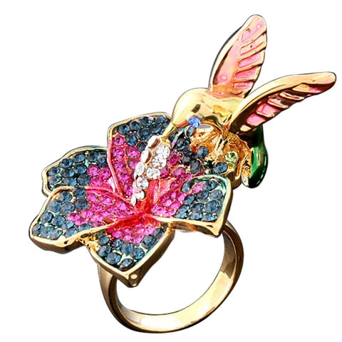Glorious Gold Plated Humming Bird Flower Ring - HoardOfTheRings.com