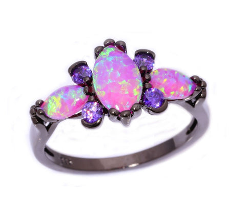 Pink Fire Opal And Amethyst Black Gold Ring