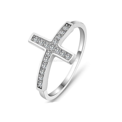 Silver Plated Zirconia Cross Ring + Rose Gold Option - HoardOfTheRings.com