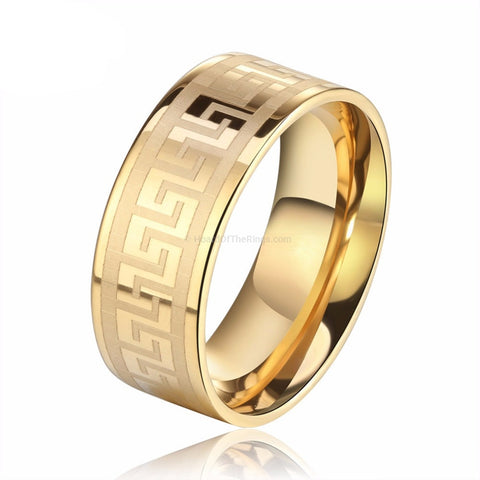 Cool Mens Versace Style Ring - 3 Color Options - HoardOfTheRings.com