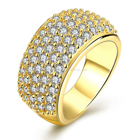 Wide 18k Gold Plated Zirconia Rhinestone Diamond Ring