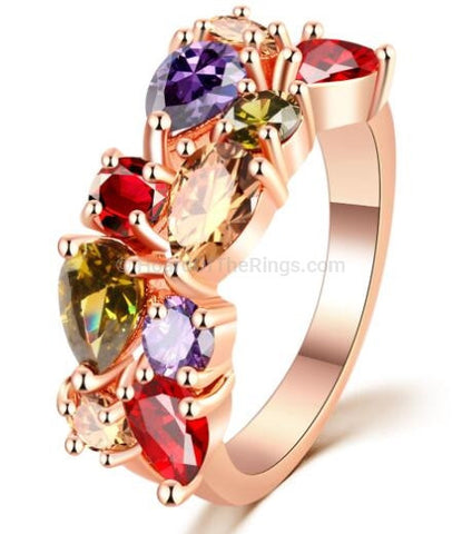 Beautiful Multi Color Gemstone Rose Gold Ring - HoardOfTheRings.com