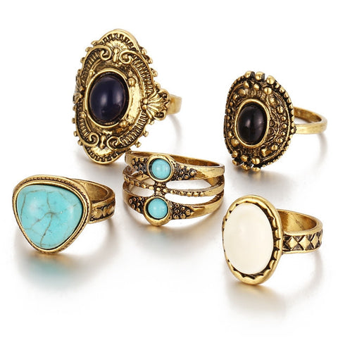 5 Piece Ring Set  In Vintage Gold or Silver - HoardOfTheRings.com