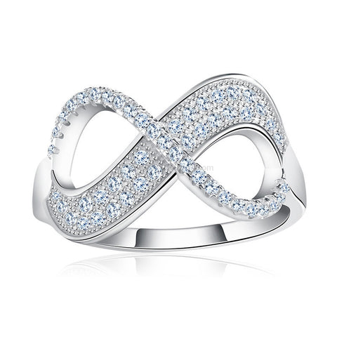 Platinum Plated Stone Encrusted Infinity Ring - HoardOfTheRings.com