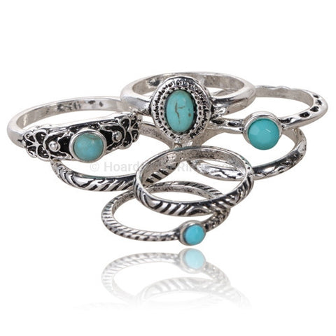 7 Piece Turquoise Bead Antique Silver Ring Set - HoardOfTheRings.com