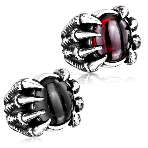 Black + Red Semi Precious Dragon Stone Claw Ring