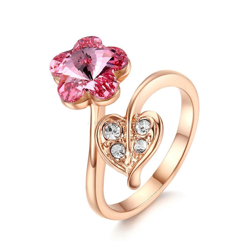 Pink And Clear Crystal Rose Gold Flower Ring - HoardOfTheRings.com