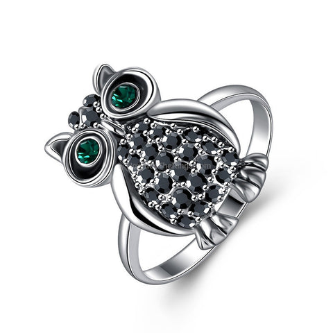 Rhinestone 18K White Gold Plated Vintage Owl Ring
