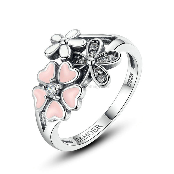 925 Sterling Silver Pink Flower Ring - HoardOfTheRings.com