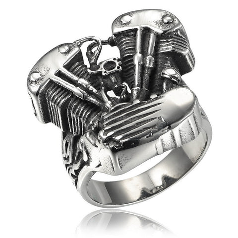Flamed Out Steel Biker Engine Ring - HoardOfTheRings.com