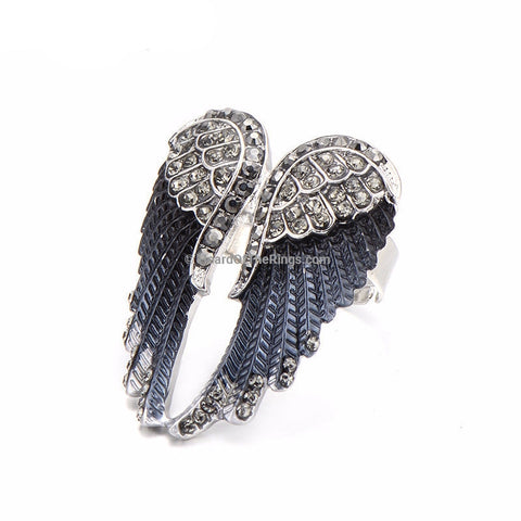 Black Angelic Wings Antique Vintage Style Zirconia Ring