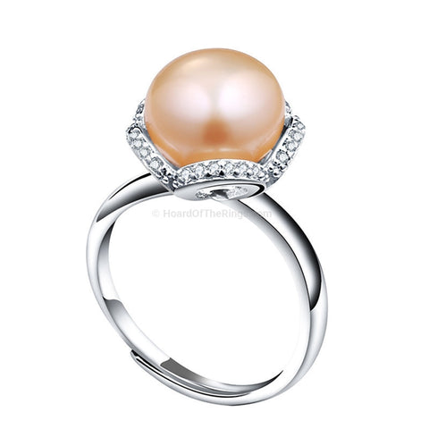 Freshwater Pearl Ring - Choice of Pearl Colour - HoardOfTheRings.com