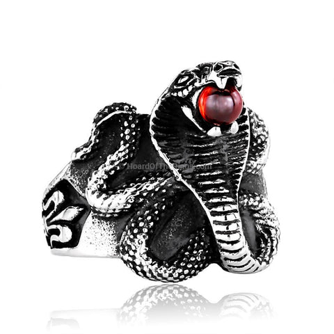 Red Stone Cobra Ring - HoardOfTheRings.com