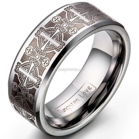 Mens Tungsten Gothic Love Ring - HoardOfTheRings.com