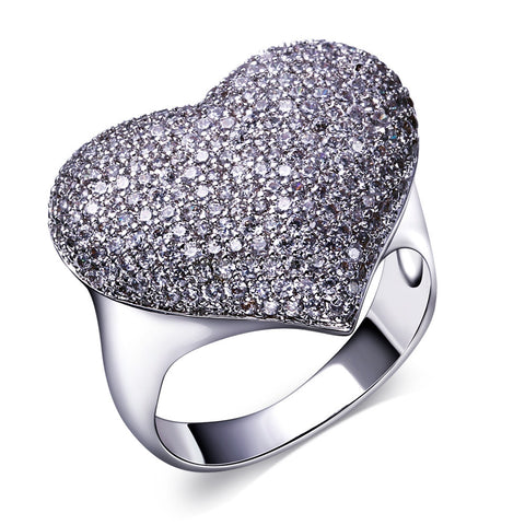 Silver Heart Platinum Ring
