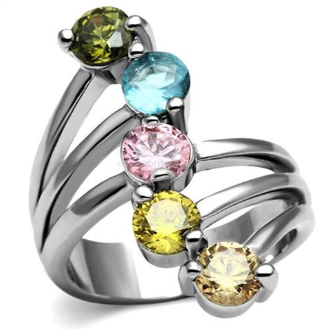 5 Stone Multi Color Highly Polished Feminine Dress Ring