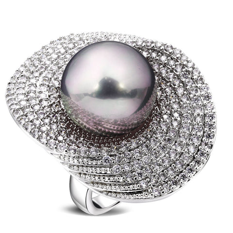 Grey Pearl And Zirconia Silver Cocktail Party Ring