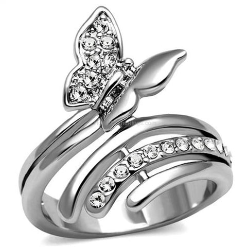 Butterfly Crystal Set Silver Ring