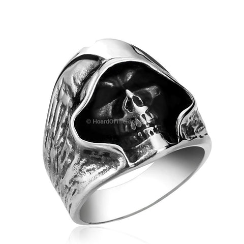 Silver Deaths Head Steel Skull Ring