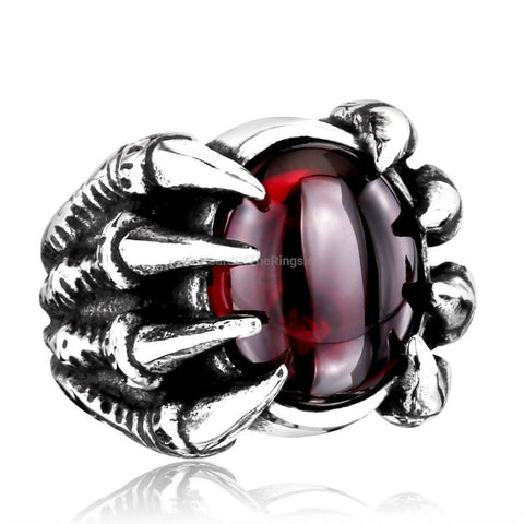 The Evil Eye Red Dragon Claw Ring