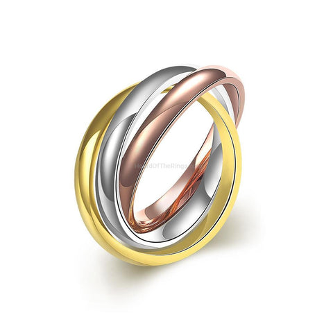 Gold, Rose Gold and Silver 3 Band Ring - HoardOfTheRings.com