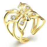 Butterfly Ring Gold Plated Zirconia Stones