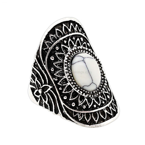 Aztec Vintage Silver Ring With Semi Precious Stone