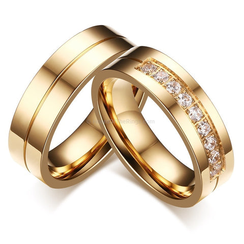 Pair Of Couples Gold Wedding Rings - HoardOfTheRings.com