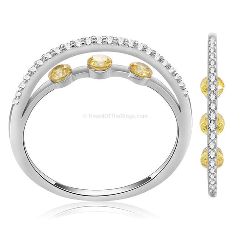 Triple Yellow Stone Platinum Eternity Ring - HoardOfTheRings.com