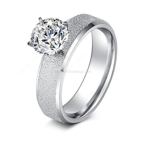 Frosted True Steel CZ Diamond Ring - HoardOfTheRings.com