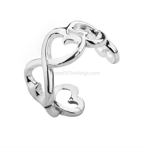 Heart Chain Silver Infinity Ring - HoardOfTheRings.com