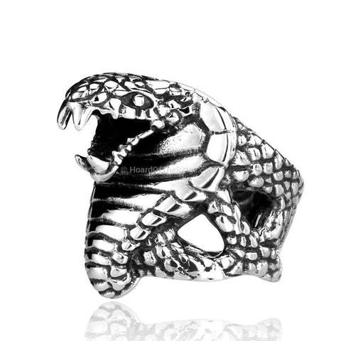 The Cobra Snake Bit Ring - Silver/Gold - HoardOfTheRings.com