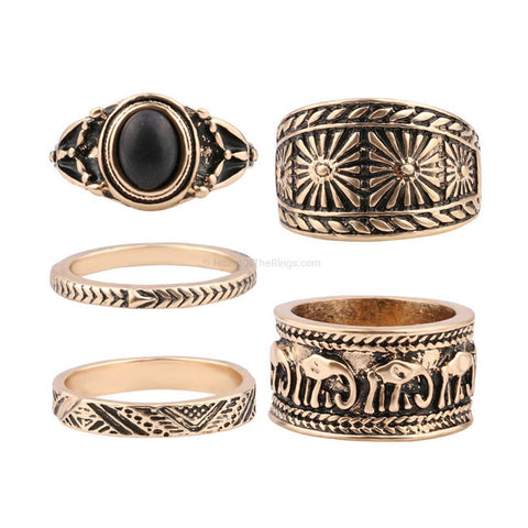 5 Piece Turkish Style Ring Set - HoardOfTheRings.com
