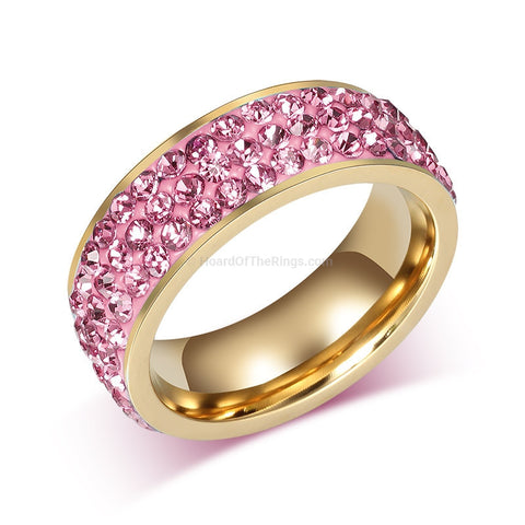 Pink Encrusted Gold Ring - Multiple Colour Choices - HoardOfTheRings.com