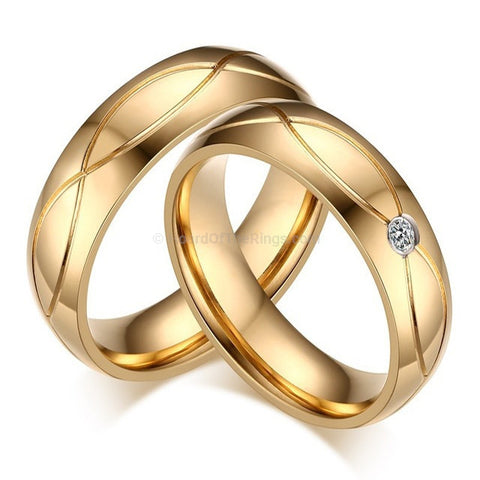 1 Pair Stainless Steel 18k Gold Plated Promise Rings - HoardOfTheRings.com