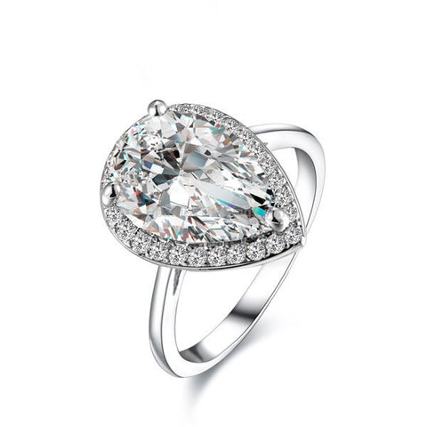 Platinum Plated Pear Shaped Cubic Zircon Ring