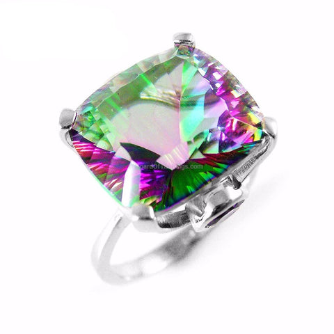 Huge 10ct Square Mystic Topaz Ring - HoardOfTheRings.com