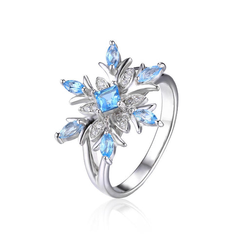 Snowflake Swiss Blue Topaz Ring