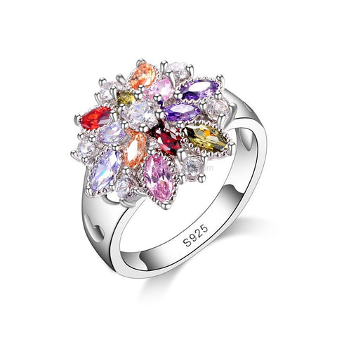 Summer Colour Flower Ring Sterling Silver Band - HoardOfTheRings.com