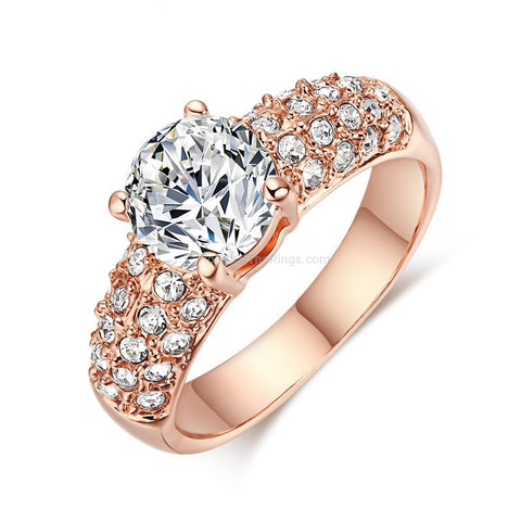 Gorgeous Big Stone Ring - Rose Gold + Platinum - HoardOfTheRings.com