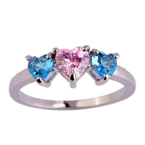 Blue Pink Heart Love Ring - HoardOfTheRings.com