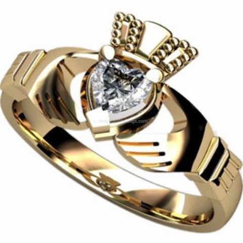 Gold Plated Irish Heart Claddagh Ring - HoardOfTheRings.com