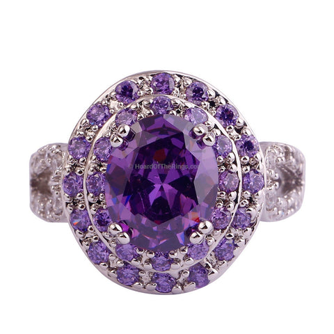 14ct Purple + White CZ Silver Ring - HoardOfTheRings.com