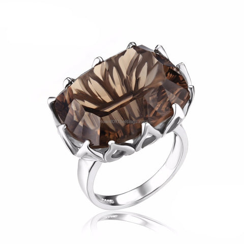 Look - 20ct Smoky Quartz Ring - HoardOfTheRings.com