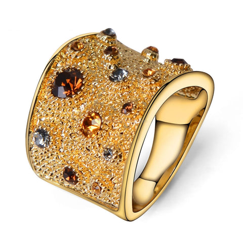 Multi Color Rhinestone Paved Cocktail Ring - HoardOfTheRings.com