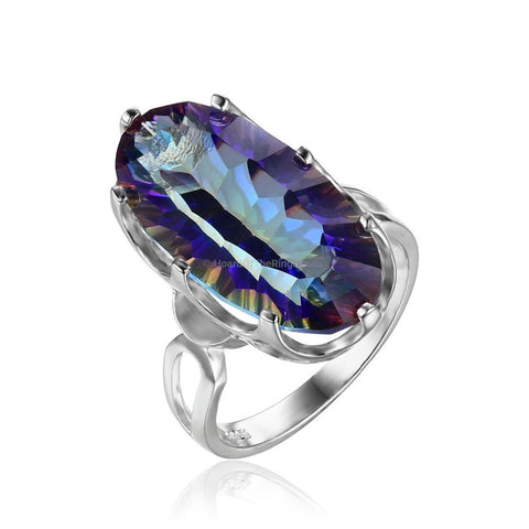 10ct Mystic Blue 925 Sterling Silver Ring - HoardOfTheRings.com
