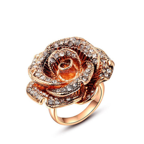 The Fiery Blossom Ring - Platinum + Rose Gold - HoardOfTheRings.com